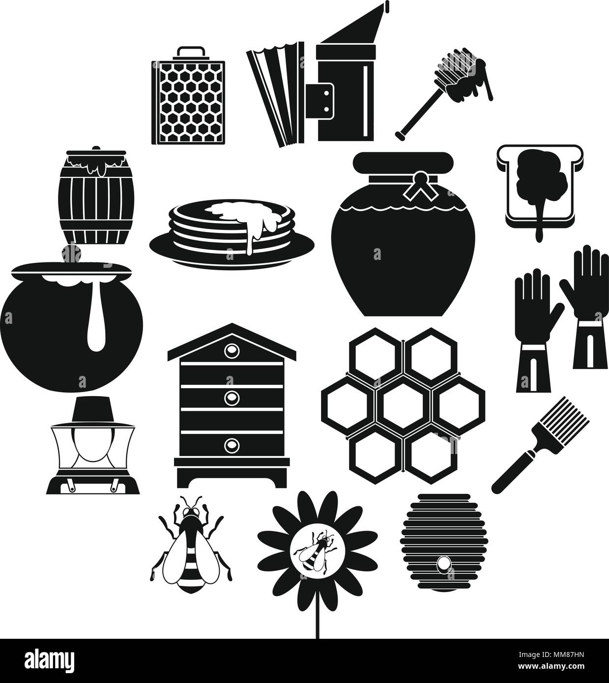 Apiary tools icons set, simple style Stock Vector
