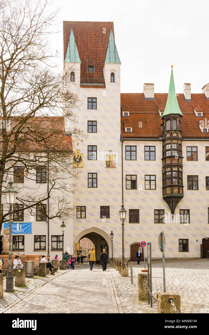MUNICH, GERMANY - APRIL 4:  The old court (Alter Hof), a former imperial residence in Munich, Germany on April 4, 2018. - Stock Image