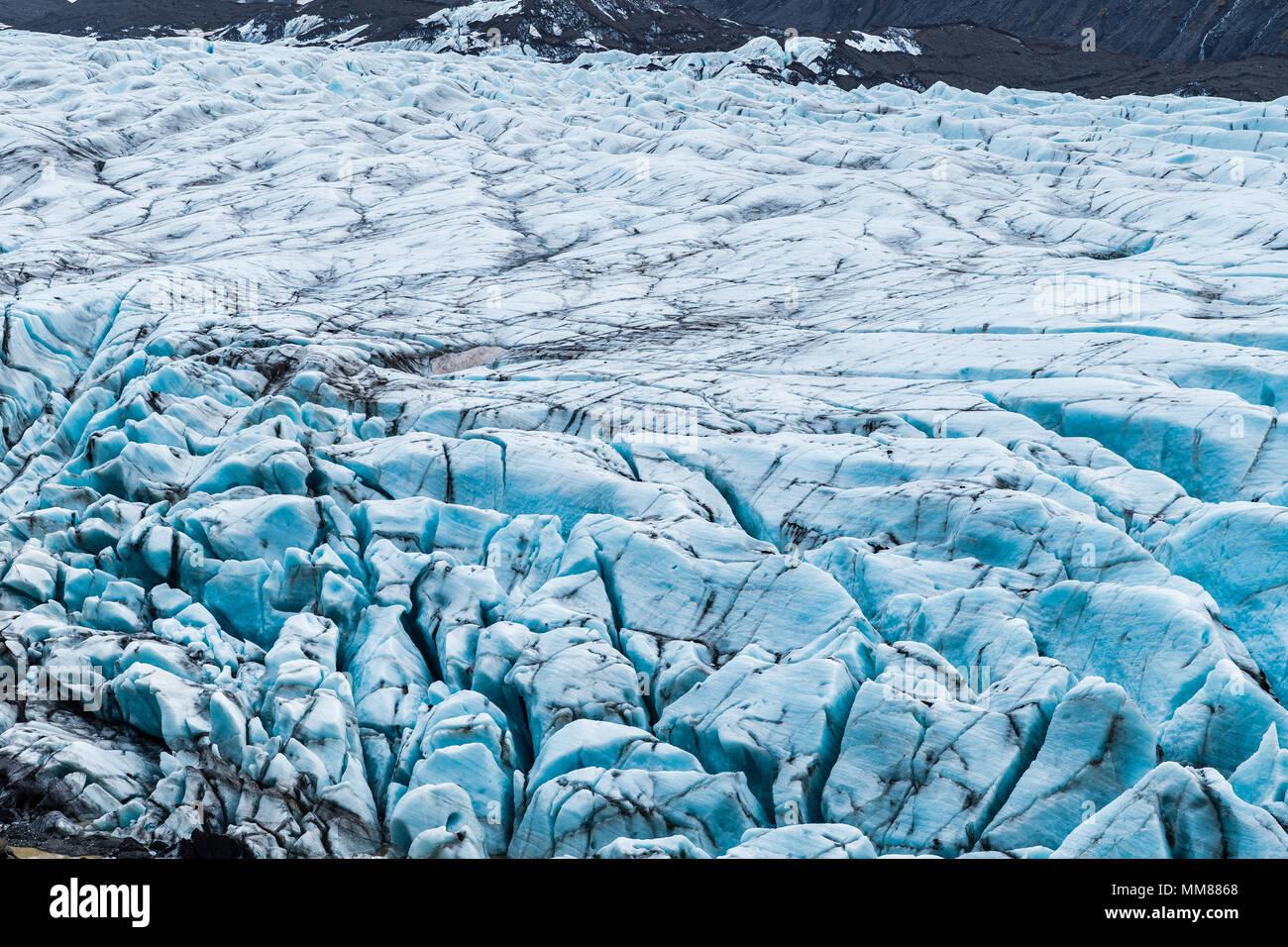 Svinafellsjokull Glacier, Iceland which has featured in Game of Thrones, Interstellar and Batman Begins - Stock Image