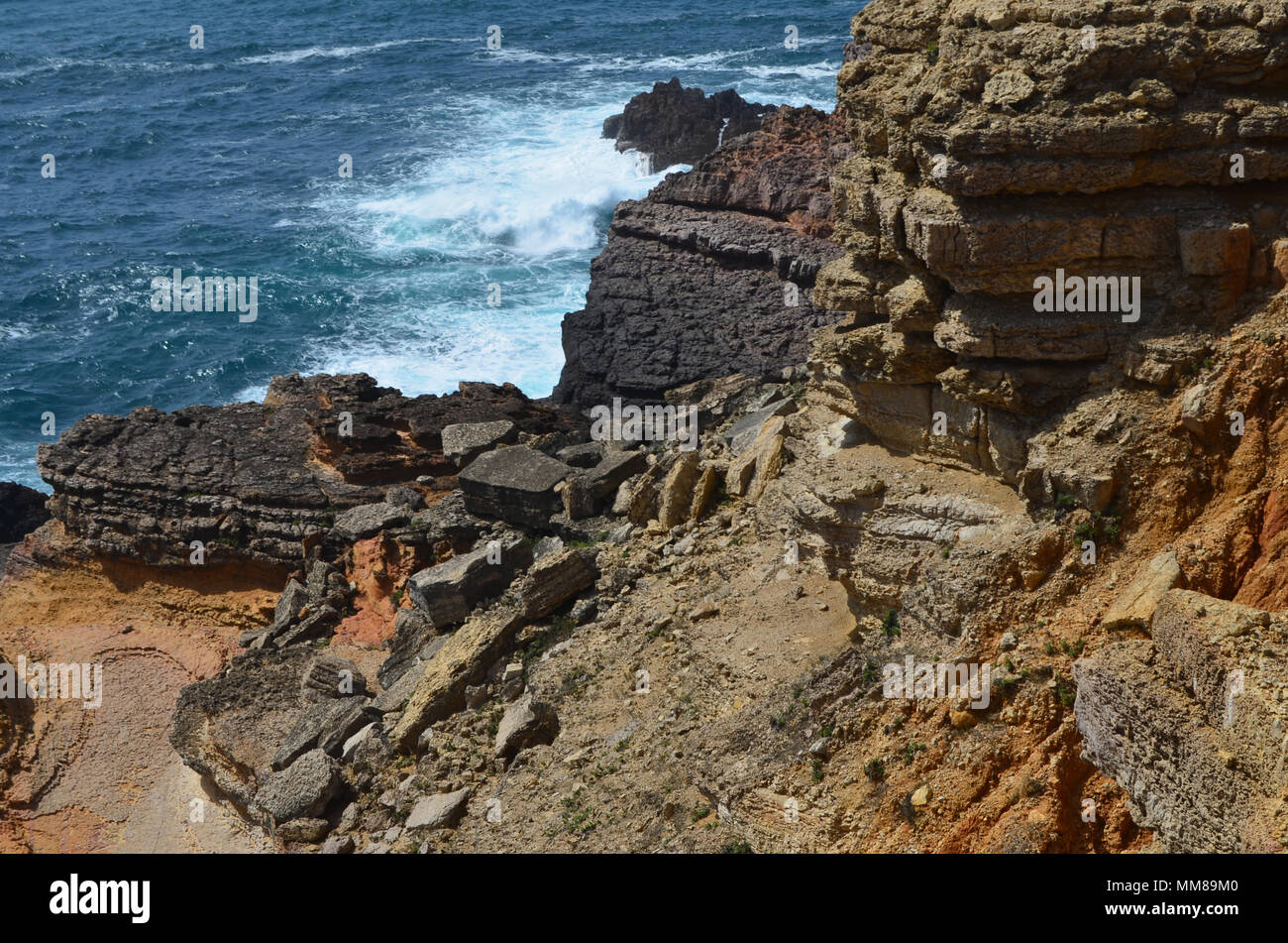 Cliffs and geological unconformities at the Costa Vicentina Natural Park, Southwestern Portugal - Stock Image