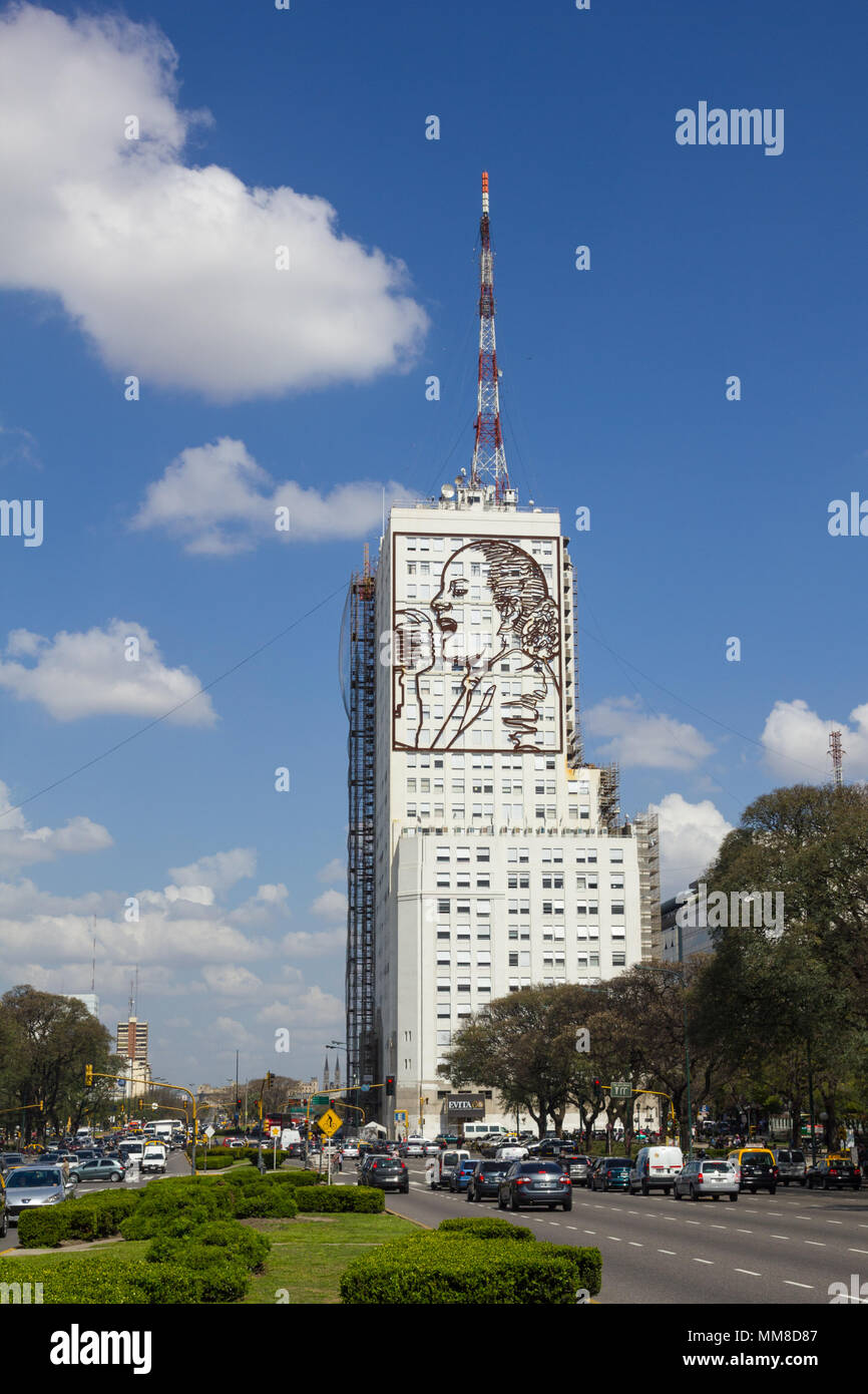 BUENOS AIRES, ARGENTINA - SEPTEMBER 12: The July 9th Avenue in Buenos Aires, Argentina. It's a major street in city. With 140 meter wide, is the wides - Stock Image