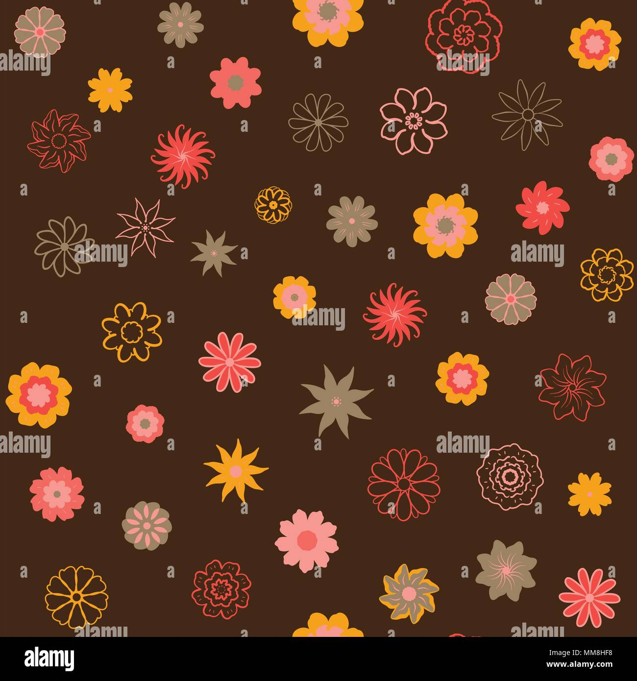 Retro Floral Wallpaper Small Flowers Stock Photos Retro Floral