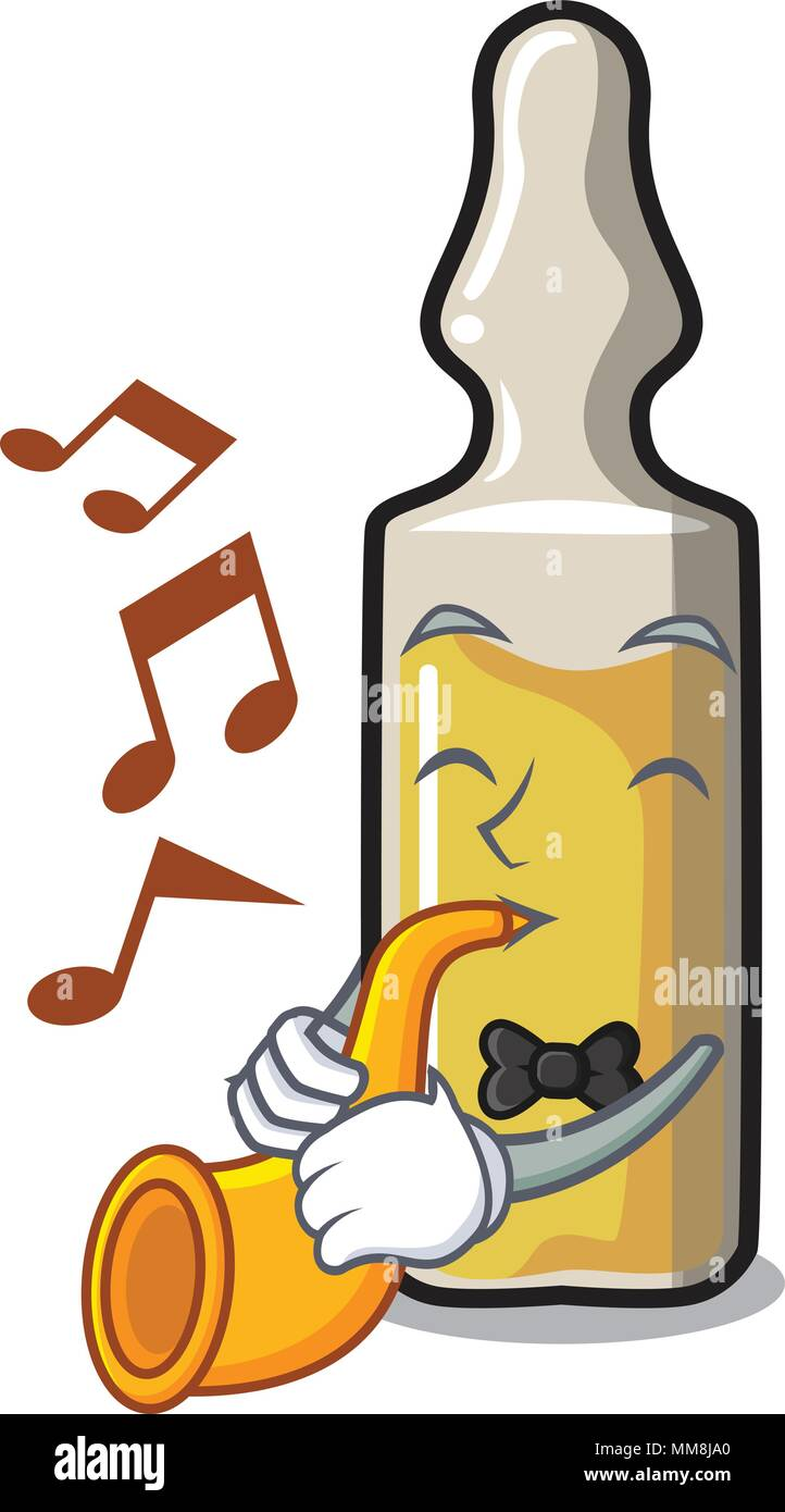 With trumpet ampoule mascot cartoon style - Stock Image