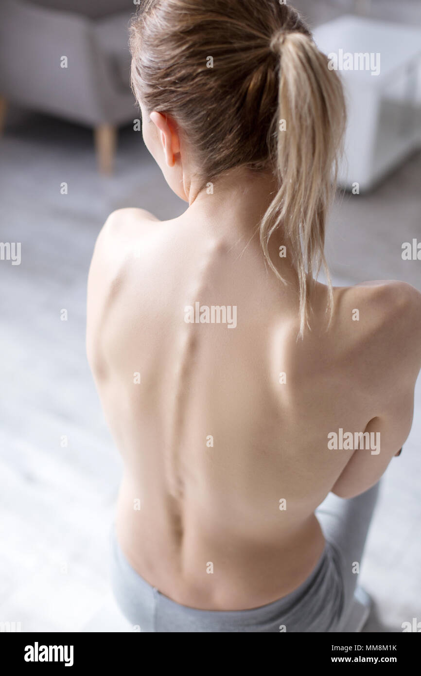 Top view of a female back - Stock Image