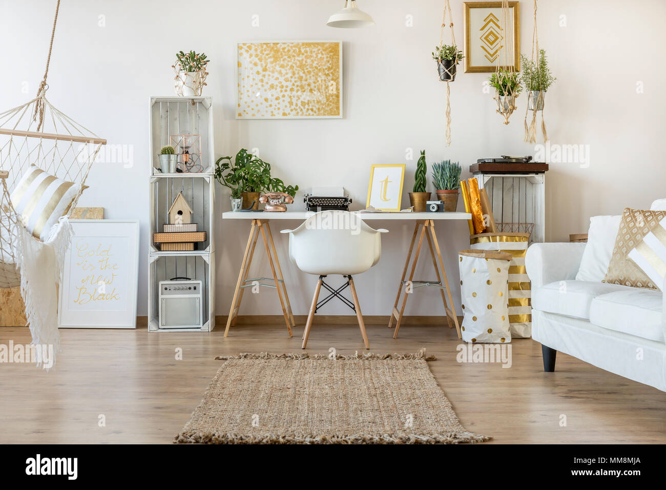 Multifunctional loft apartment with home office area Stock ...