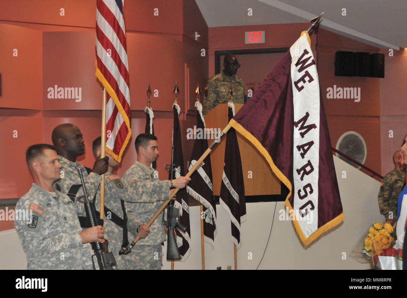 The color guard holds the flags at the start of a Change of Command ceremony of Western Medical Area Readiness Support Group. Then the National Anthem was sung. The change of command is a traditional event rich with symbolism and heritage. Col. Thad Collard is now the commander for the next two years of WE MARSG in San Pablo, California with units in Arizona, Colorado, New Mexico, Nevada, Montana, Washington and California. The change of command happened the 10th of September 2017. - Stock Image