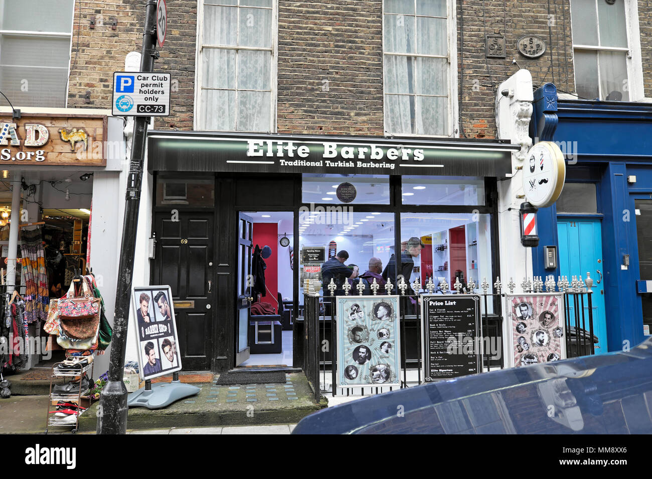 Elite Barbers exterior view of Turkish Barber shop on Marchmont Street in London WC1 England UK  KATHY DEWITT - Stock Image