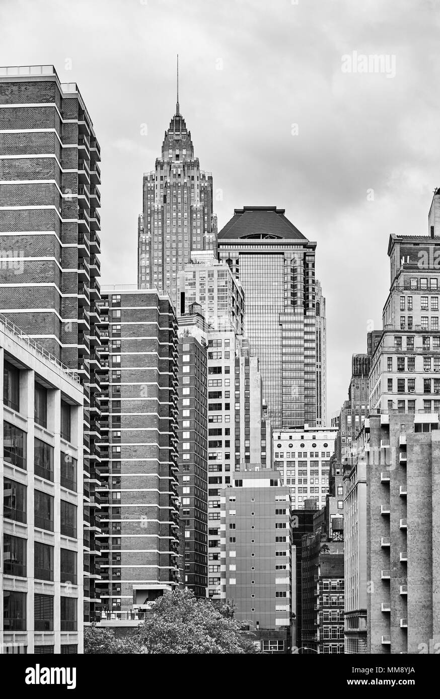 Black and white picture of New York City architecture, USA. Stock Photo