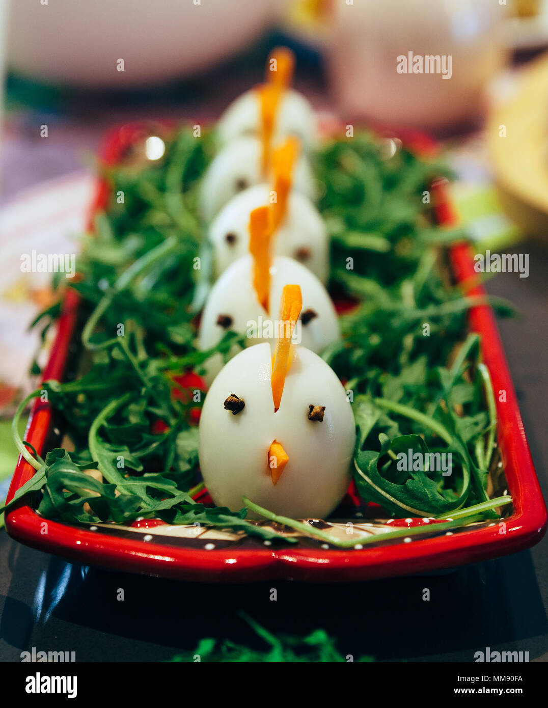 Hard boiled decorated eggs Stock Photo