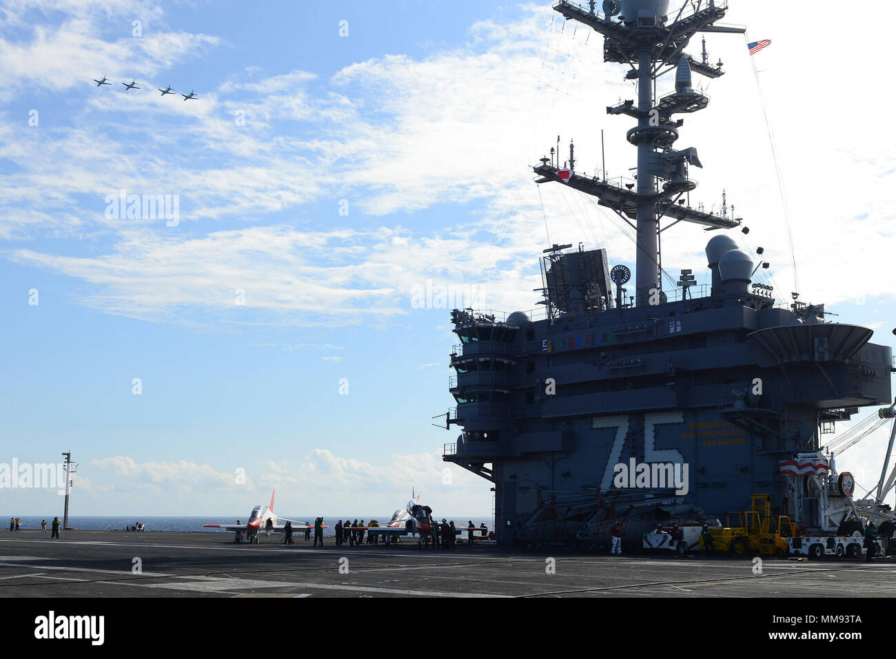 170916-N-PE636-117 ATLANTIC OCEAN (Sept. 16, 2017) T-45C Goshawk, assigned to Training Air Wing (TRAWING) 1, fly over USS Harry S. Truman (CVN 75). Truman is currently underway conducting Carrier Qualifications in preparation for future operations. (U.S. Navy photo by Mass Communication Specialist 2nd Class Anthony Flynn/Released) - Stock Image