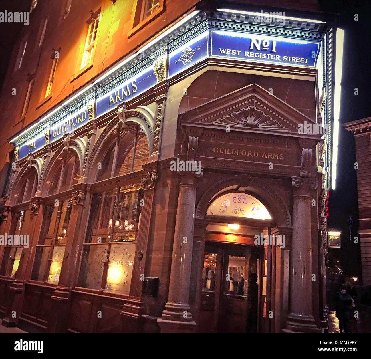 The Guildford Arms, No 1, West Register Street, Edinburgh EH2 2AA, real ale pub, Scotland, UK, at night - Stock Image
