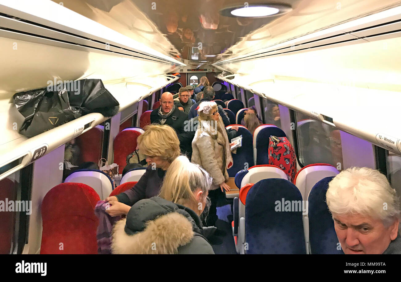 Interior of an overcrowded Virgin train - Stock Image