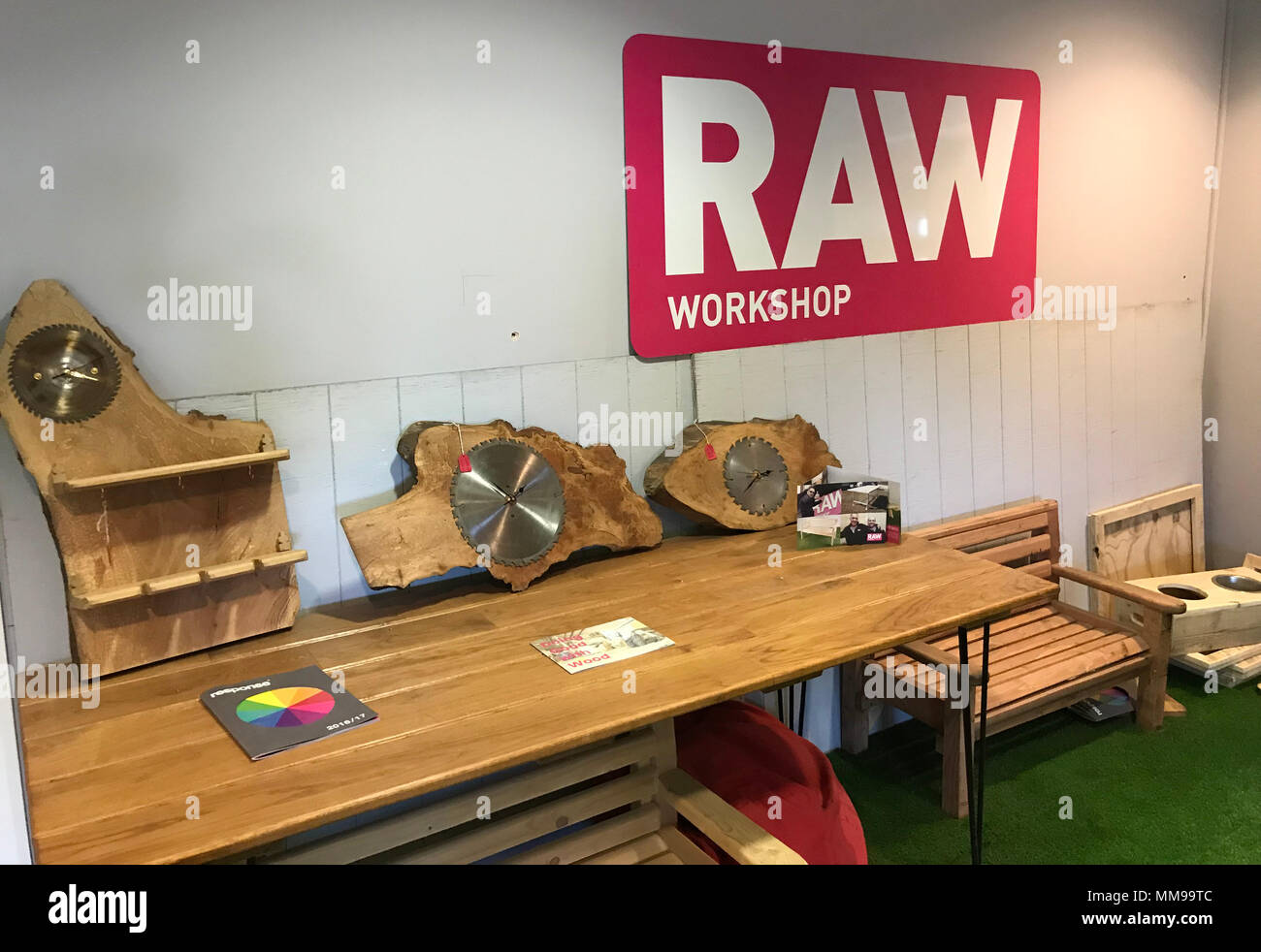 RAW Workshop reception counter, woodworking charity, Blackbird Leys, reclaimed woodworkers - Stock Image