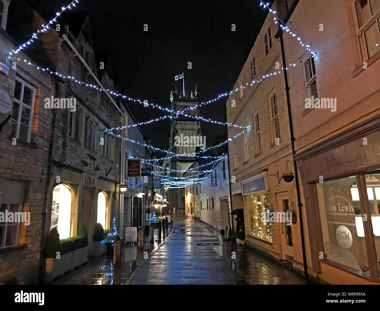 Cirencester market town centre at night, Cotswolds, England, UK - Stock Image