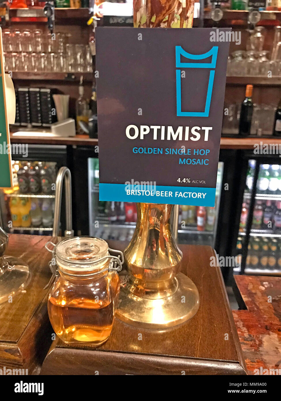 Optimist Bristol Beer Factory Beer pumps on a bar, in a traditional English pub, England, UK - Stock Image