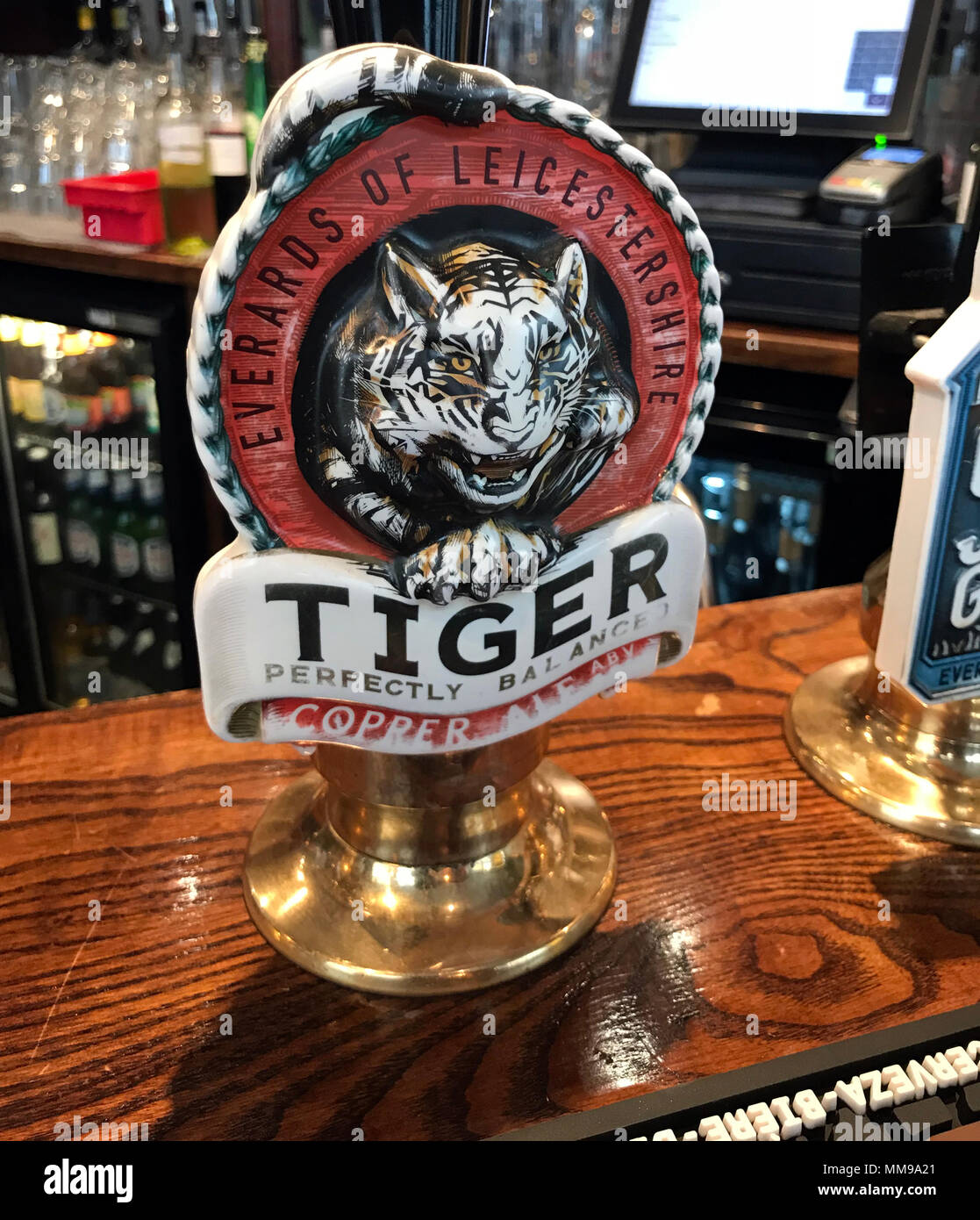 Everards Tiger Beer pumps on a bar, in a traditional English pub, England, UK - Stock Image