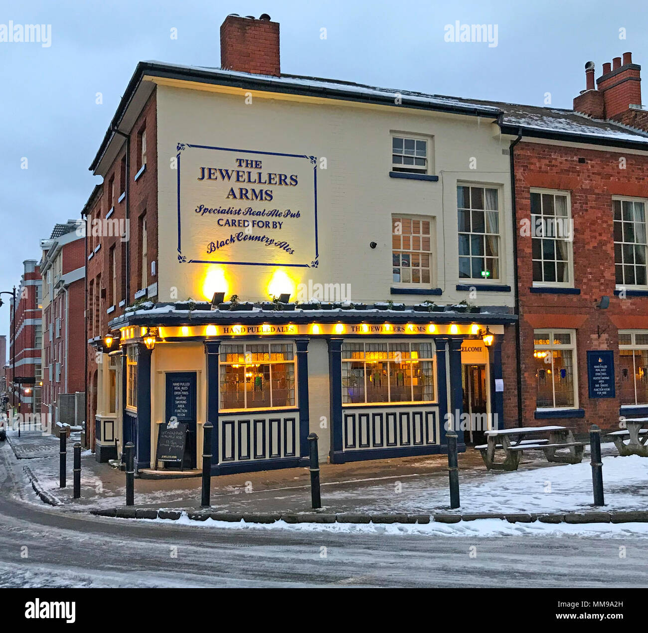Jewellers Arms,Jewellery Quarter, Birmingham in the snow, West Midlands, england, Black Country, UK, GB - Stock Image