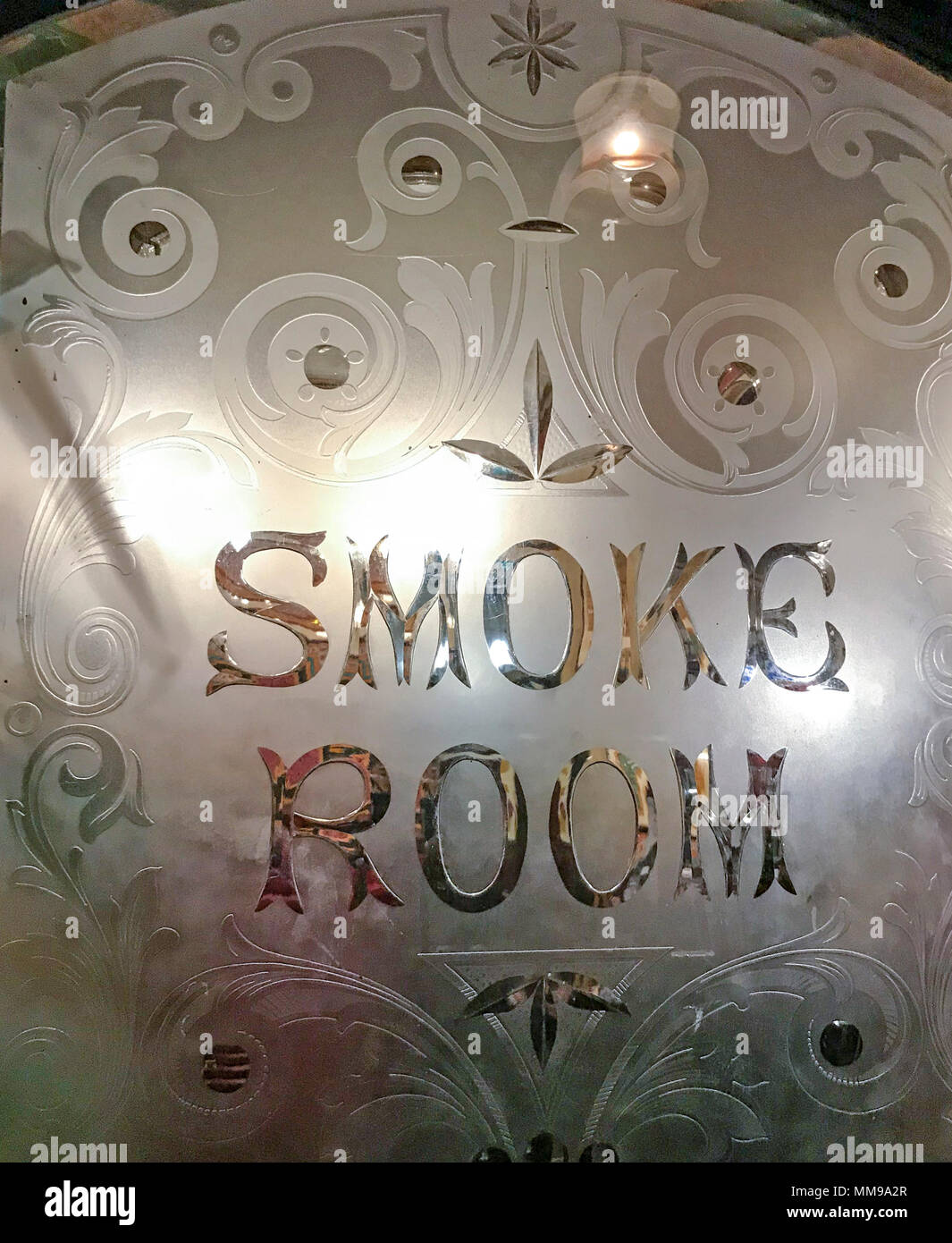 Smoke room door, Bartons Arms, Aston, Birmingham, B6 4UP, B6 - Stock Image