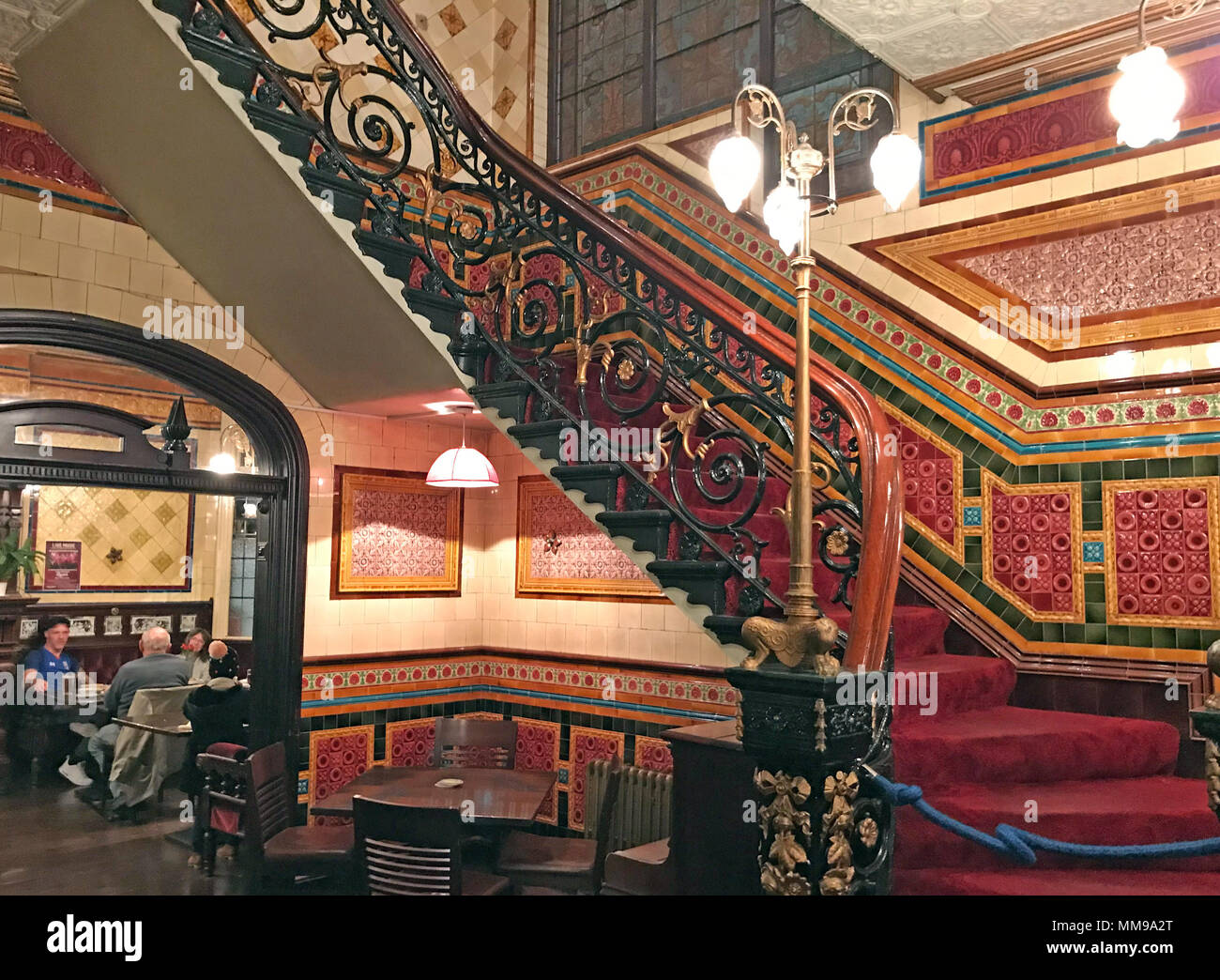 Victorian tile staircase at the Bartons Arms, Aston, Birmingham, B6 4UP - Stock Image