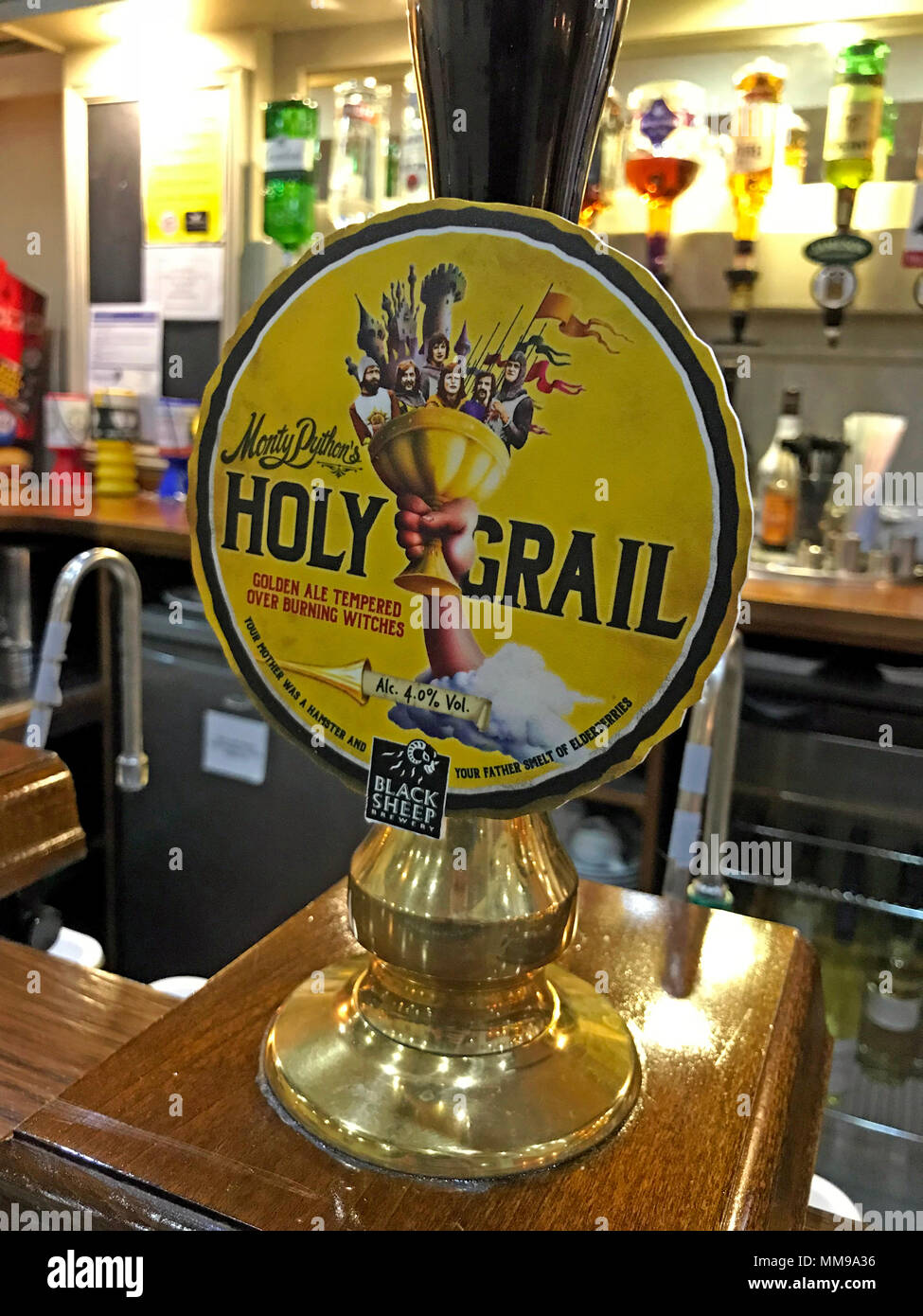 Black Sheep Holy Grail bitter beer CAMRA, pump on a bar, England - Stock Image