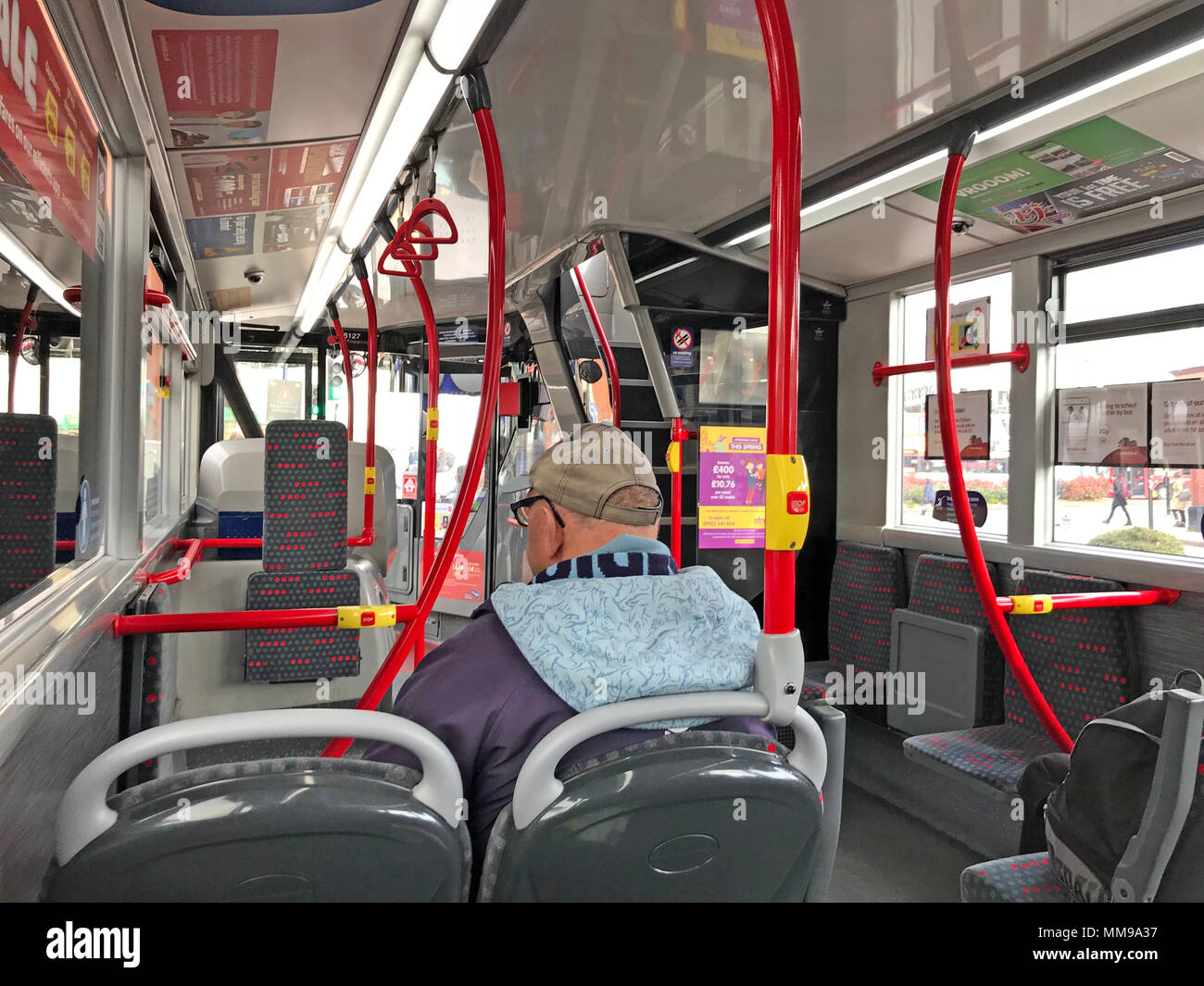 Interior, of, the, National Express, 50 bus,50,bus, , Birmingham, city centre, West Midlands, England - Stock Image