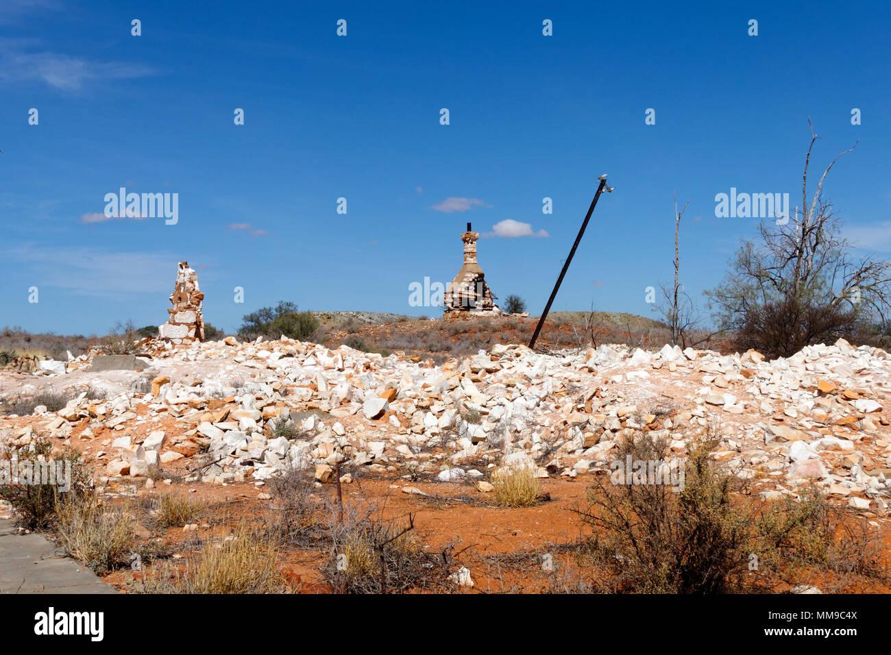 Cue hospital ruins, built 1n 1895 , Cue, Eastern Goldfields, Western Australia - Stock Image