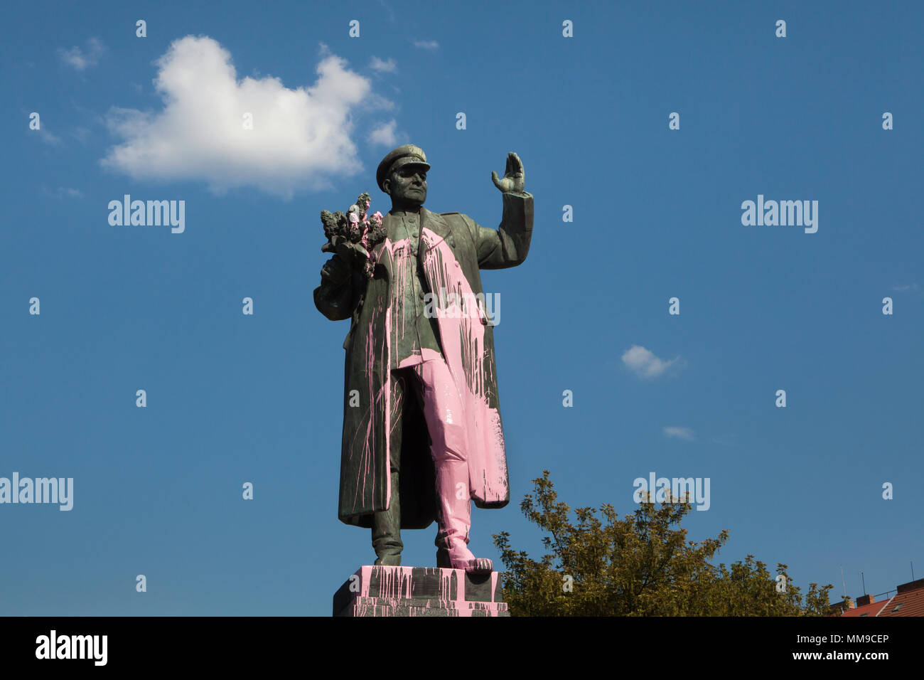 Monument to Soviet military commander Ivan Konev vandalised with pink paint in Prague, Czech Republic, on 8 May 2018. Bronze statue by Czech sculptor Zdeněk Krybus was unveiled in 1980 in Dejvice district to commemorate the liberation of Prague by the 1st Ukrainian Front of the Red Army under command of Ivan Konev in May 1945 in the last days of World War II. - Stock Image