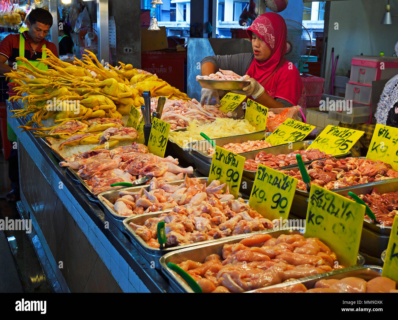 Fresh poultry meat at Banzaan Fresh Market, Patong Beach, Phuket, Thailand - Stock Image