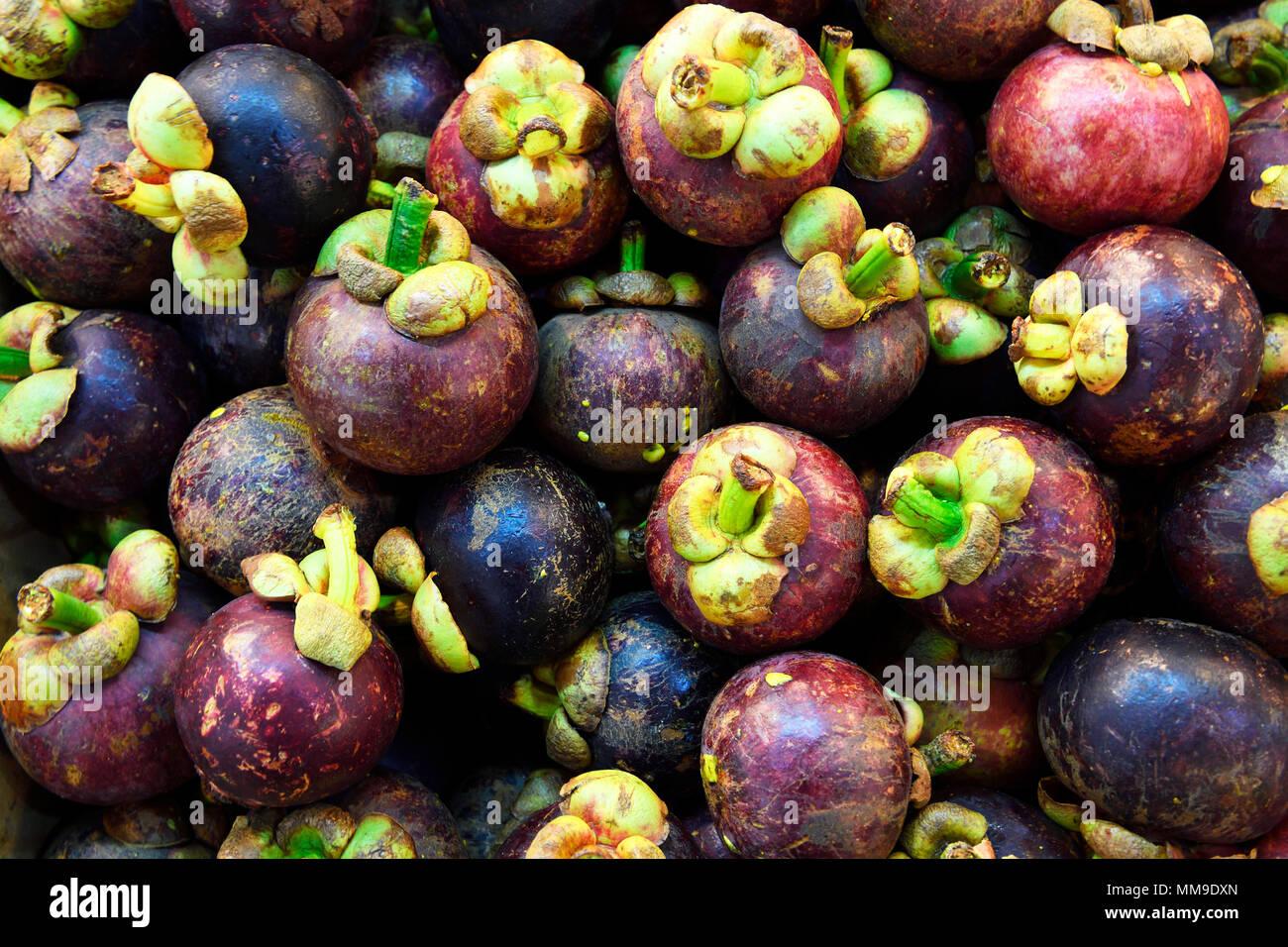 Mangosteen at Banzaan Fresh Market, Patong Beach, Phuket, Thailand - Stock Image