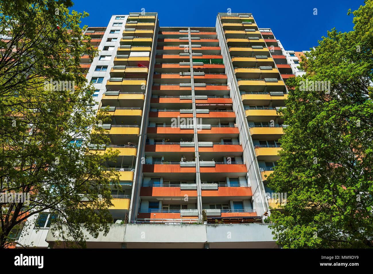 High-rise with balconies, 70s, Neuperlach, Munich, Upper Bavaria, Bavaria, Germany - Stock Image