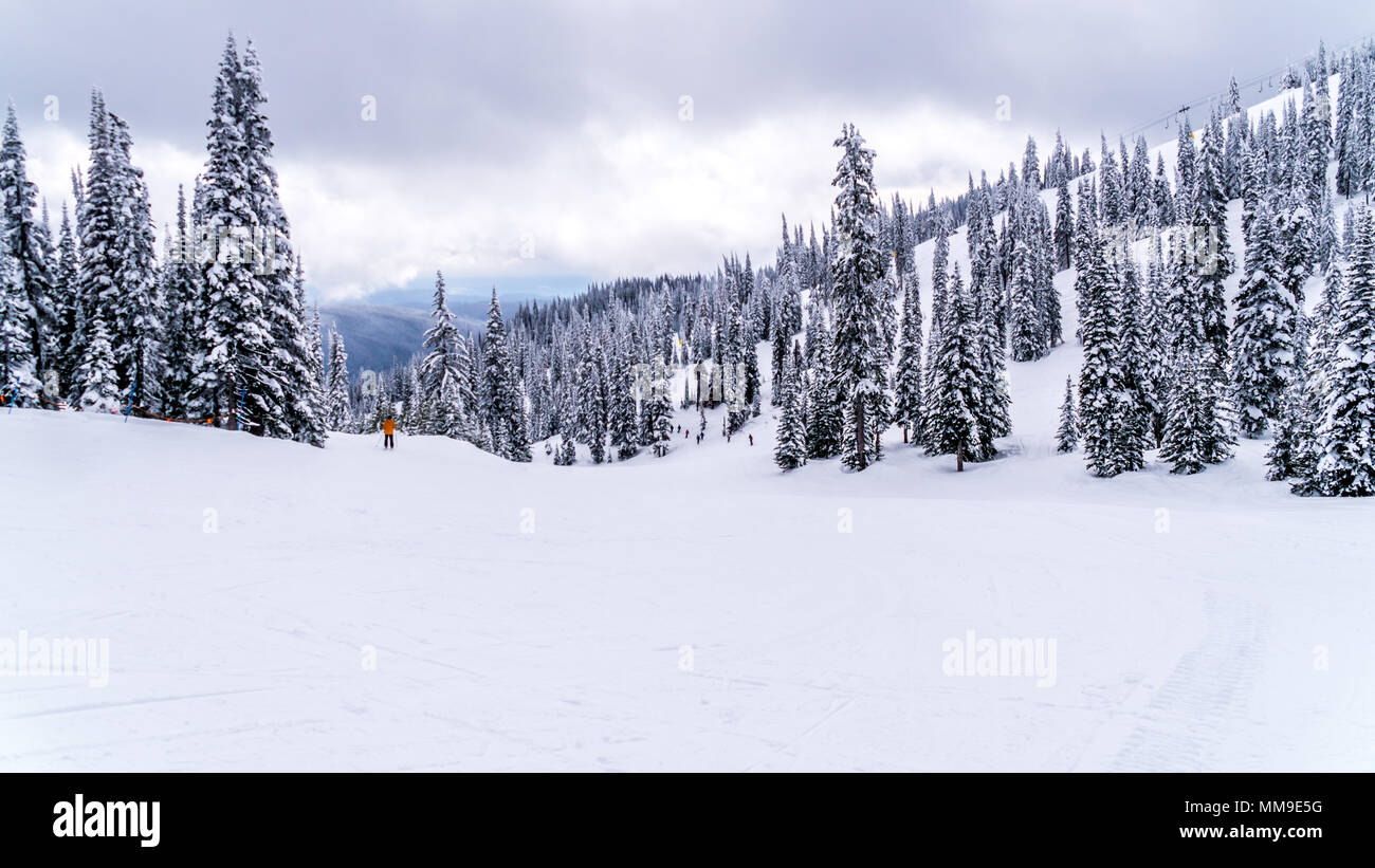 A beautiful scenery of the winter landscape of the famous Sun Peaks ski resort in British Columbia, Canada Stock Photo