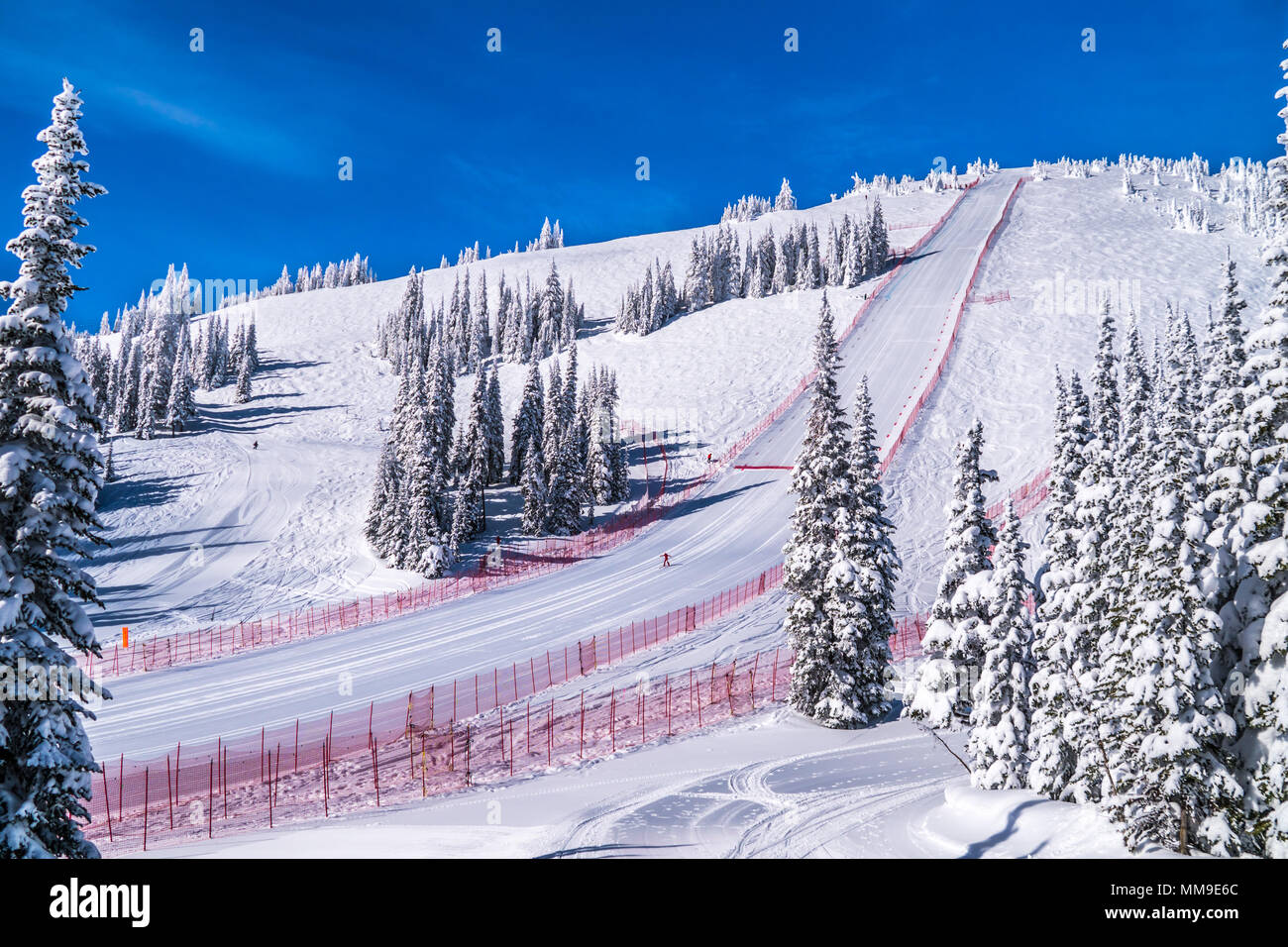 Velocity Challenge and FIS speed ski world cup race at the famous Sun Peaks Ski Resort in the Shuswap Highlands of beautiful British Columbia - Stock Image