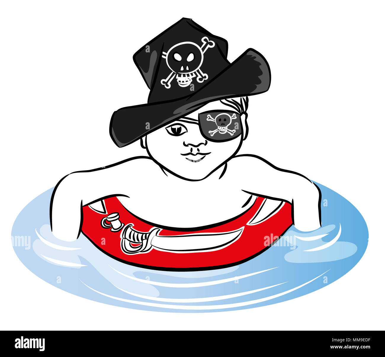 Pirate boy Pirate boy swimming with rubber ring in the sea. Pirate boy with rubber ring and hat.Stock Photo