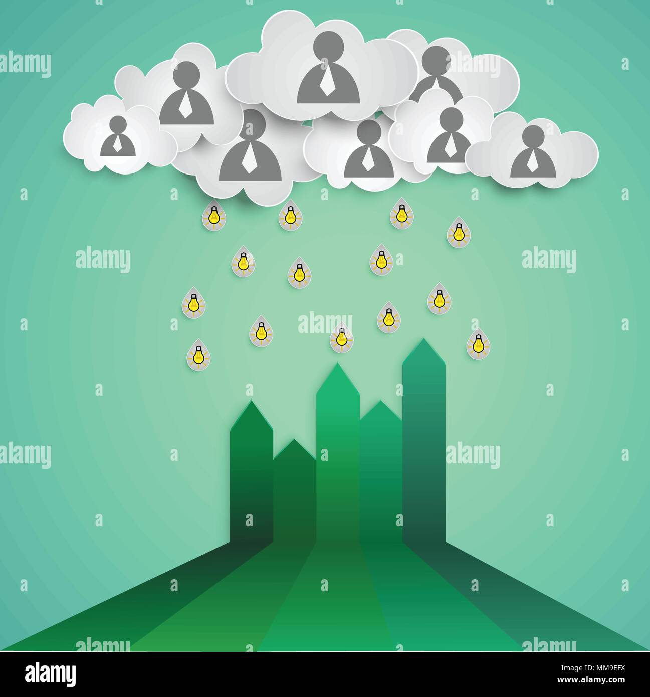 Business Concept Teamwork Cloud Fill Ideas On The Growth Chart