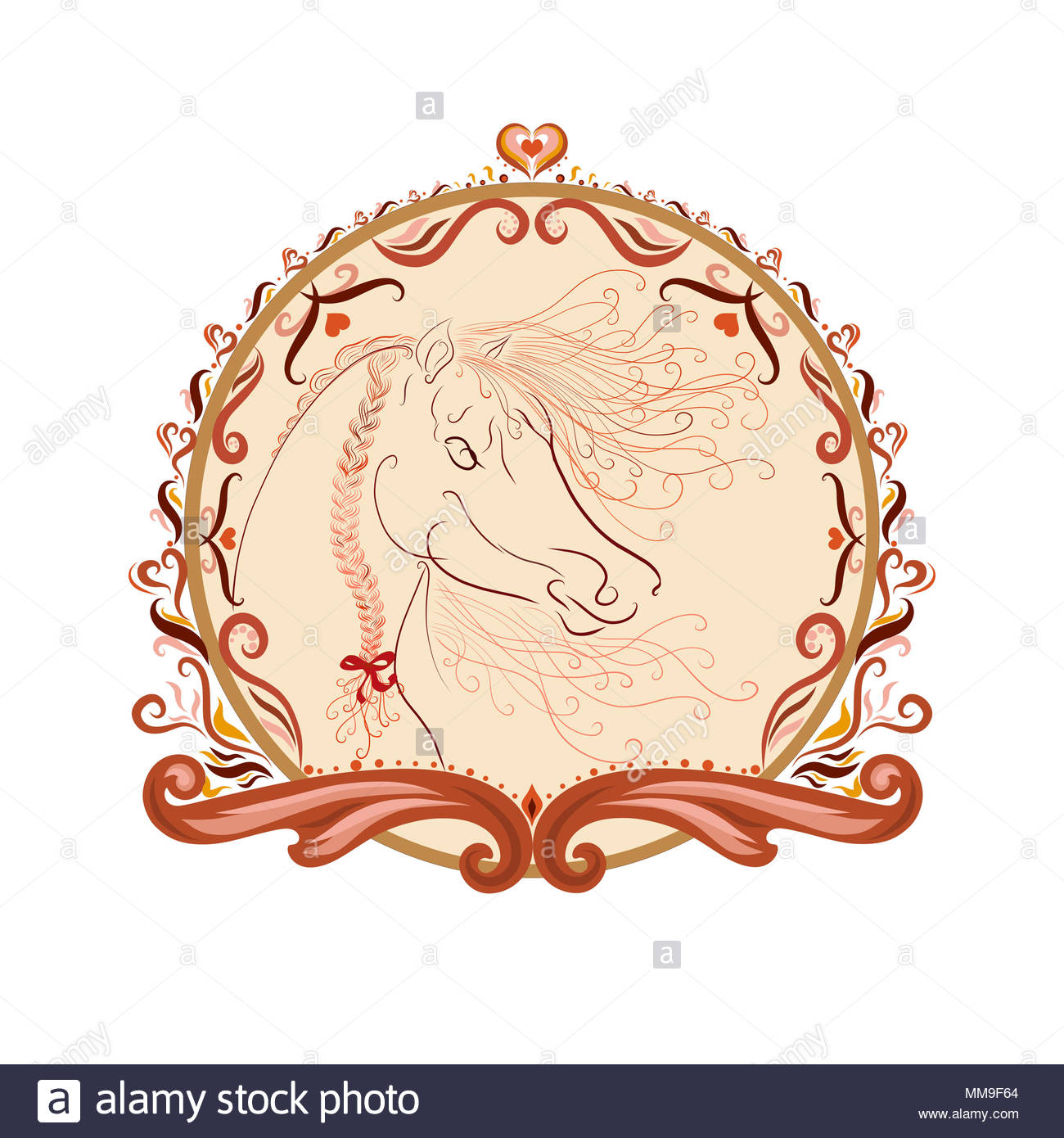 The horse's head with a fluffy mane and bright oblique painted graceful lines with swirls in an elegant round frame Stock Photo