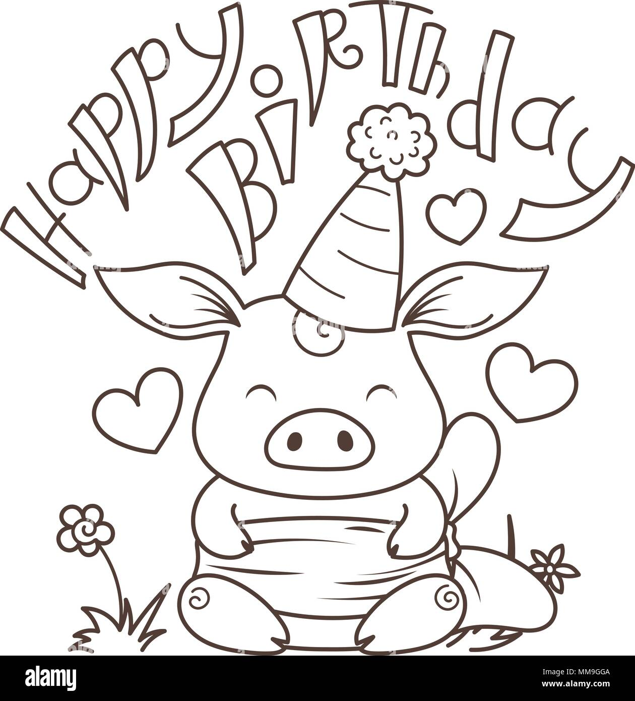 Happy Birthday Cute cartoon pig