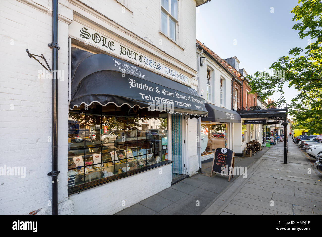 Sole Butchers, a traditional butcher and game shop in Broad Street, New Alresford, a small town or village in Hampshire, southern England, UK - Stock Image