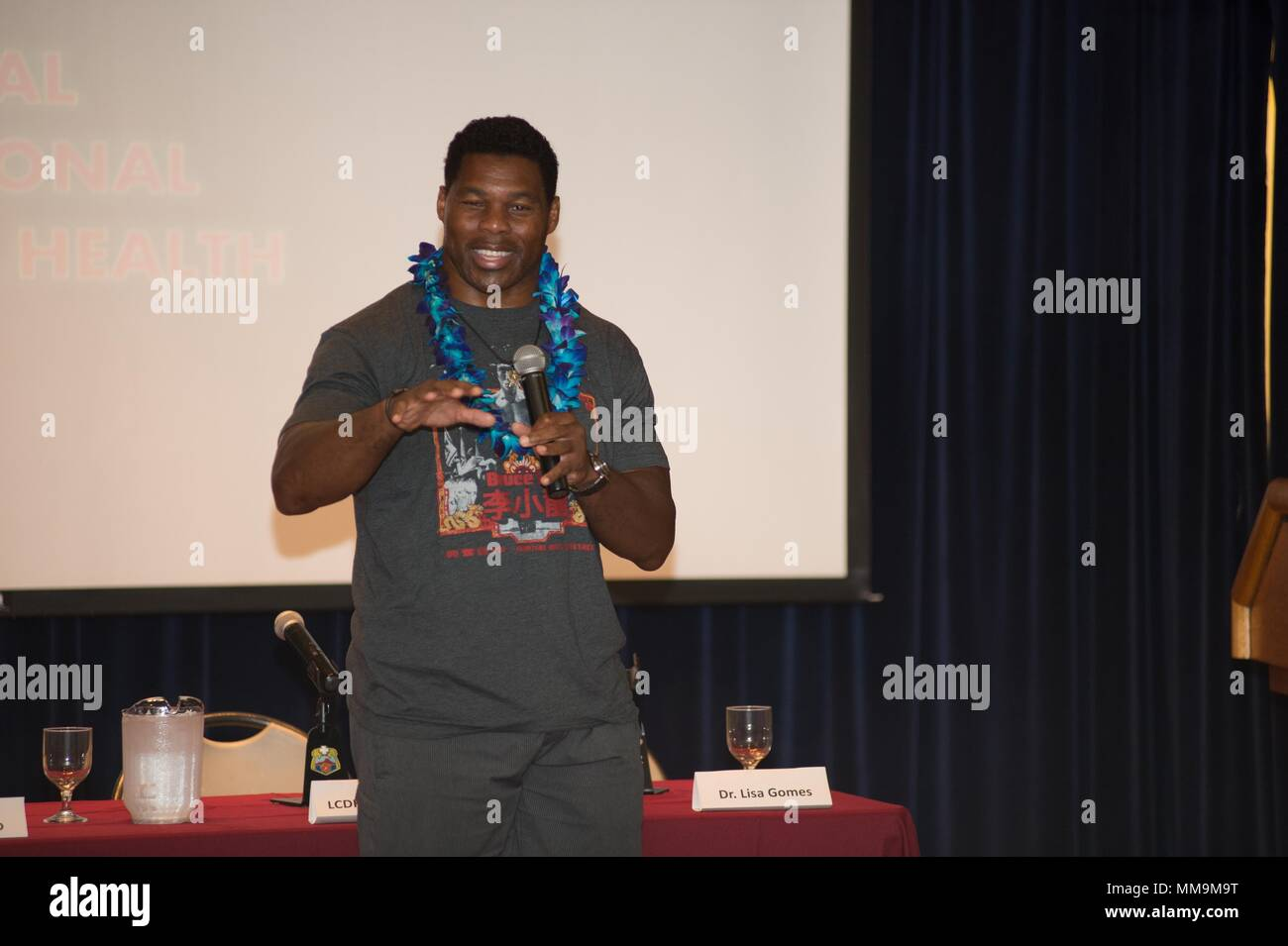 Former National Football League champion, turned mental health and addiction treatment spokesperson, Herschel Walker, served as the motivational speaker during the Regional Health Command-Pacific and Veterans Affairs Pacific Islands Health Care System co-hosted sixth annual Pacific Regional Behavioral Health Summit, Sept. 7 at Tripler Army Medical Center's Kyser Auditorium. Walker shared his monumental personal mental health journey and the steps he took to get to wellness. Walker also reflected on the importance that behavioral health professionals played in his recovery. (Photo credit: Marlo - Stock Image