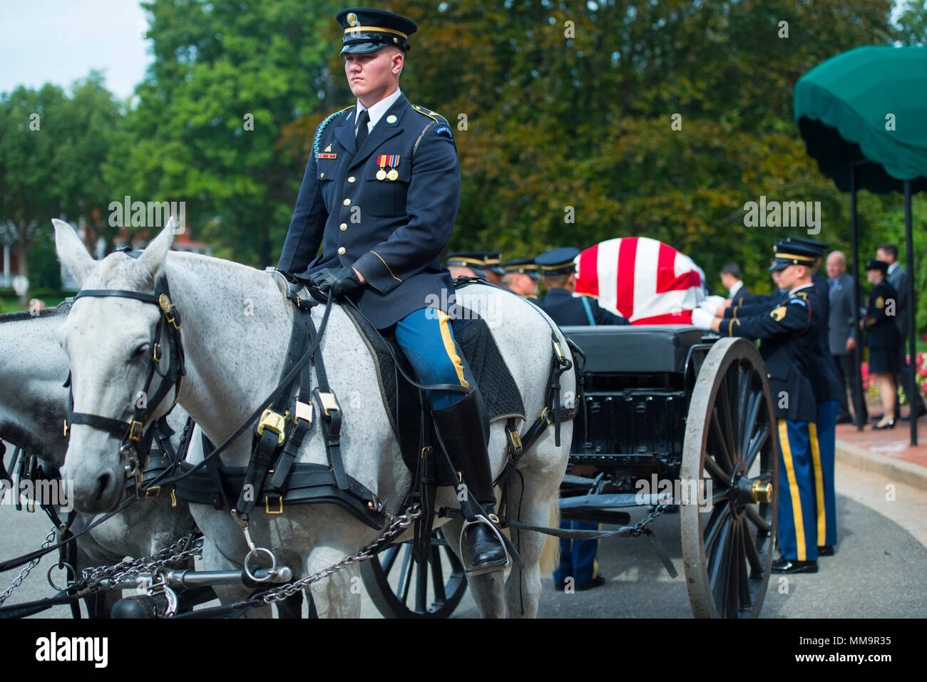Members of the 3d U.S. Infantry Regiment (The Old Guard) Caisson Platoon participate in the full honors service for Army Air Forces 1st. Lt. Francis Pitonyak at Arlington National Cemetery, Arlington, Va., Sept. 22, 2017.  Pitonyak, a member of the 36th Fighter Group, 8th Fighter Squadron during WWII, went missing in October 1943 during deteriorating weather conditions and lost visibility near Port Moresby, Territory of Papua.  His remains were identified by a DPAA recovery team in July 2016 from dental remains recovered from a crash site in Papua New Guinea.  (U.S. Army photo by Elizabeth Fra - Stock Image