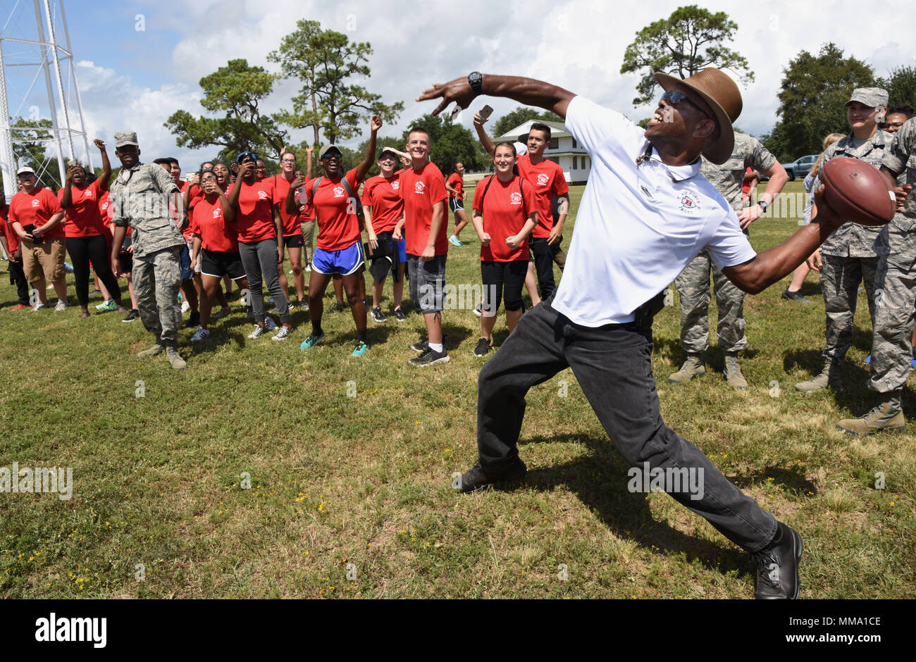 Retired Master Sgt Steve Hinton Biloxi High School Instructor Competes In The Football Throwing Competition At The Science Technology Engineering And Mathematics Diversity Outreach Day Sept 15 2017 On Keesler Air Force