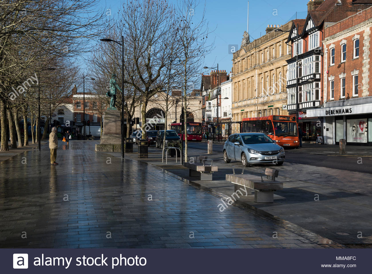 View of The Market Place and Blue Boar Row, Salisbury, Wiltshire, England, UK - Stock Image
