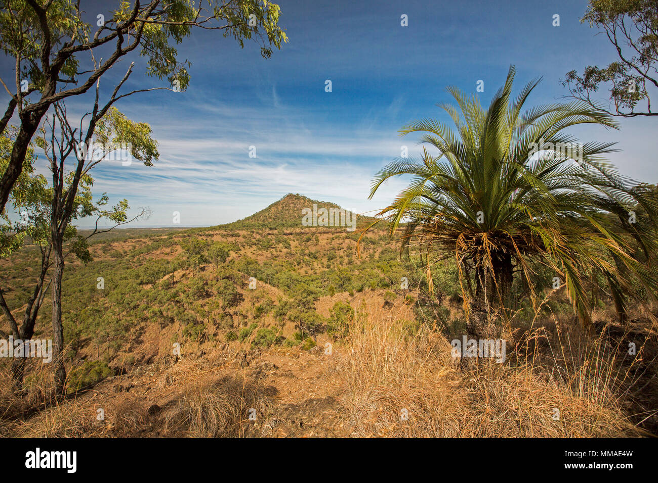 View of vast outback landscape of ranges and plains under blue sky from lookout at Minerva Hills National Park, near Springsure Queensland Australia Stock Photo