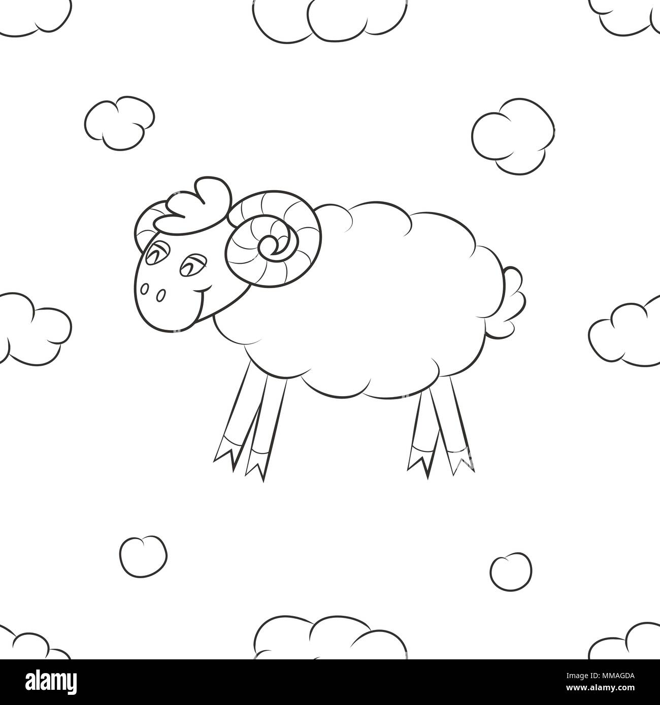 Fluffy sheep fly in the sky - Stock Vector