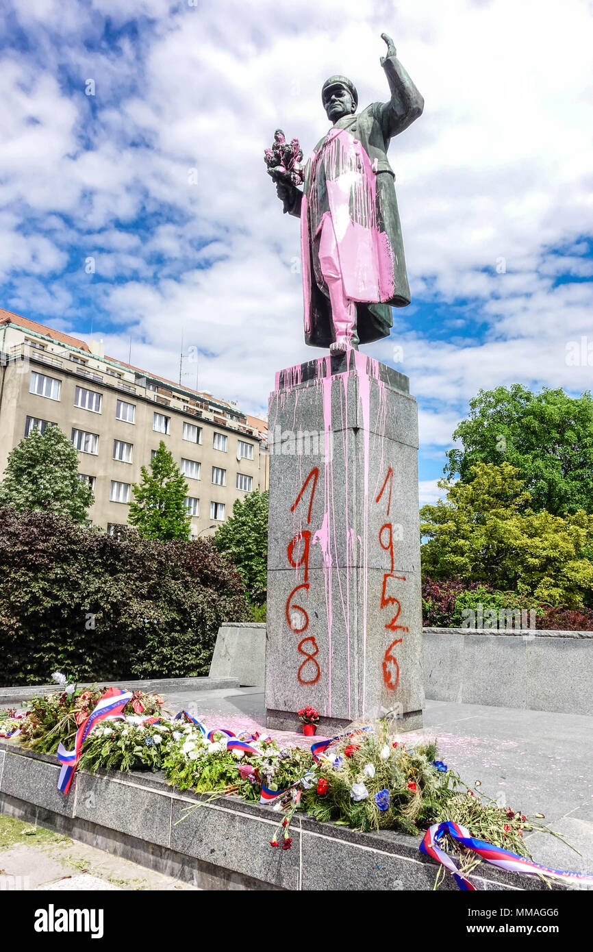 Prague Dejvice, someone on the night of May 8, 2018 polished pinkish sculpture of Marshal Konev and sprayed on the base year 1956 and 1968. - Stock Image