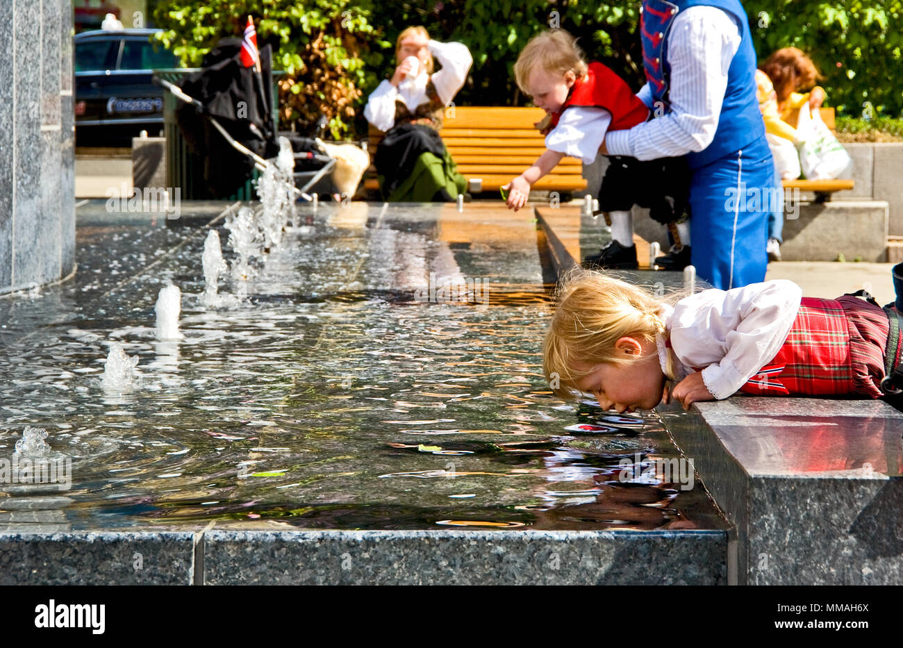 Norway - Oslo, child plays Stock Photo
