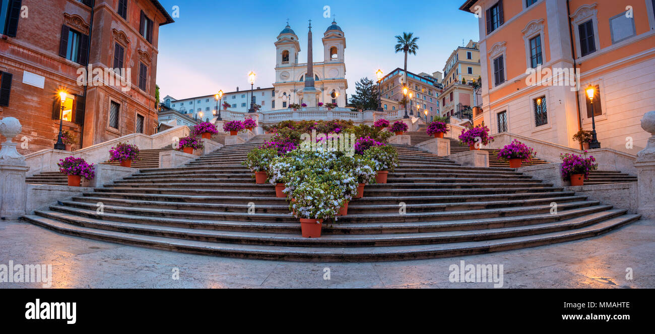 Rome. Panoramic cityscape image of Spanish Steps in Rome, Italy during sunrise. - Stock Image
