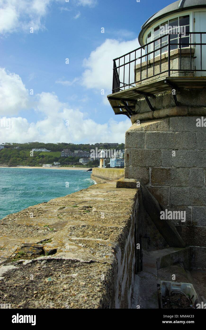 Lighthouse on St Ives Harbour - Stock Image