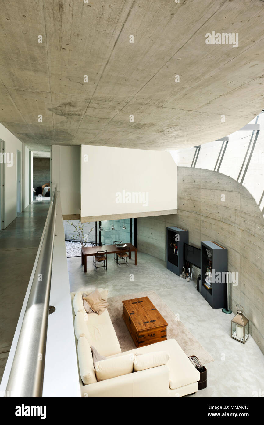 Beautiful modern house in cement interior living room top view