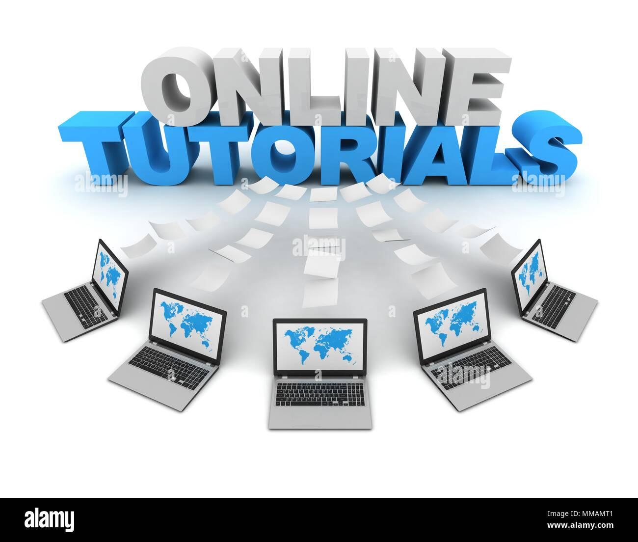 online tutorials 3d concept illustration - Stock Image
