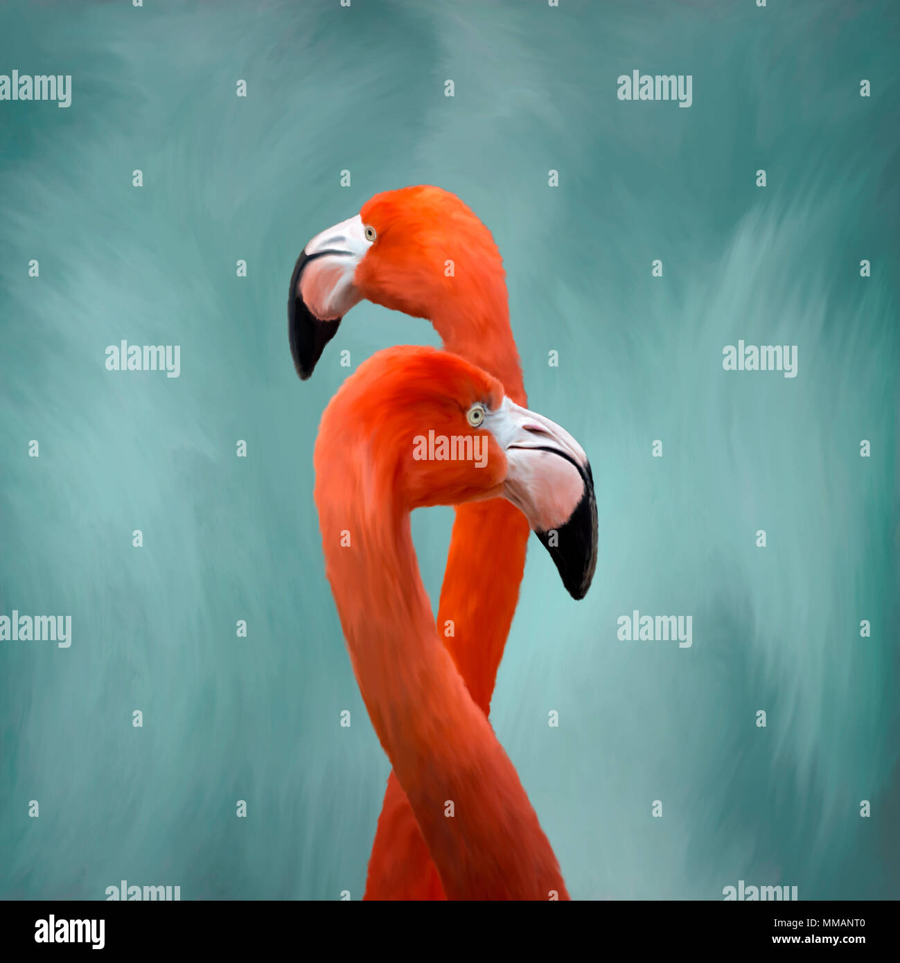 Oil painting of elegant Flamingo birds standing tall against a soft  blue and white background. - Stock Image
